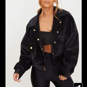 PLT Petite Cropped Cord Oversized Trucker Jacket